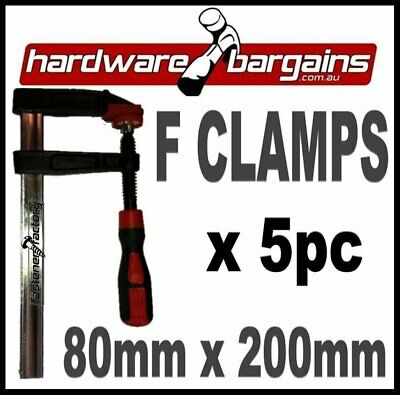 80mm x 200mm F CLAMPS (5pc) - QUICK ACTION F-CLAMP WOODWORK/METALWORK CLAMPS