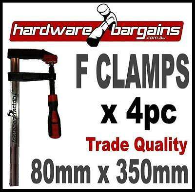 80mm x 350mm F CLAMPS (4pc) - QUICK ACTION F-CLAMP WOODWORK/METALWORK CLAMPS