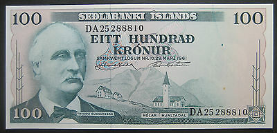 1961 100 Kronur paper note from Iceland! Uncirculated! SKU 12111302