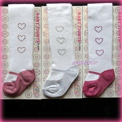 Soft Touch Baby Girl Tights-0/3,3/6,6/12 Mth-Beautiful Silver Glitter-New