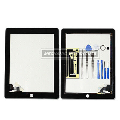 Black Apple iPad 2 Digitizer Glass Touch Screen replacement home button 3g wifi