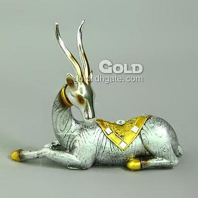 ANY OCCASION GIFT 15.5cm RECUMBENCY ANTELOPE ORNAMENT SILVER & GOLD COLOUR*