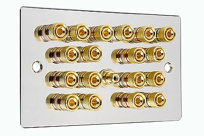 Polished Chrome 9.1 Surround Sound Speaker Wall Face Plate Gold Binding Posts