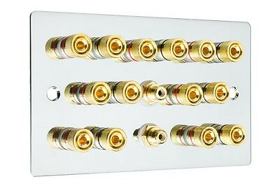 Polished Chrome 7.2 Surround Sound Speaker Wall Face Plate Gold Binding Posts