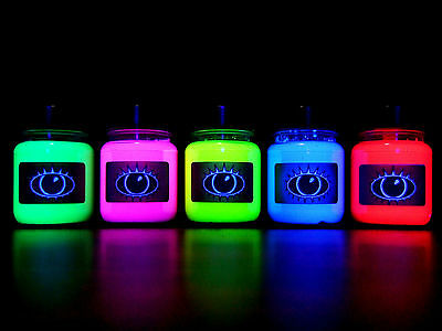 UV Paint Set Of UV Paints Ultra Bright Colours Green Pink Yellow Blue Red