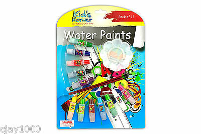15Pc Water Colour Set 12 Colours X 6Ml + Artist Paint Brush Art Non Leaded Toxic