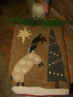 """Primitive Rug Hooking Kit On Monks ~ """"trimming The Tree"""""""