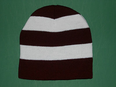 46b07be212c Personalized Knit Beanie Skull Cap Maroon + White Rugby Striped Team Sports  Name