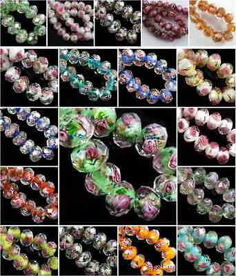 Lots 15 pcs Faceted Lampwork Glass Crystal Charms Rose Flower Loose Bead 12mm