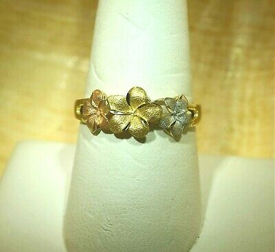 7mm-8mm-7mm Hawaiian 14k TriColor Gold DC Matted Tropical Plumeria Flower Ring