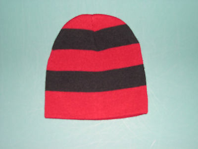 e32239426f5 Personalized Knit Beanie Skull Cap Maroon + Black Rugby Striped Team Sports  Name