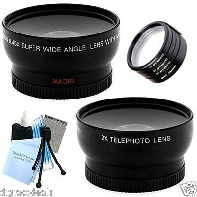 58mm Wide Angle / Telephoto Lens + 4PC Close Up Set for T3i, T3, 20D, 5D, 300D