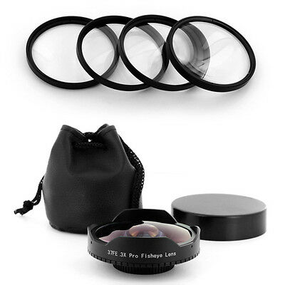 37mm 0.3x Wide Angle Fisheye Lens Macro Filter Kit for Samsung HMX-H100,H104,H10
