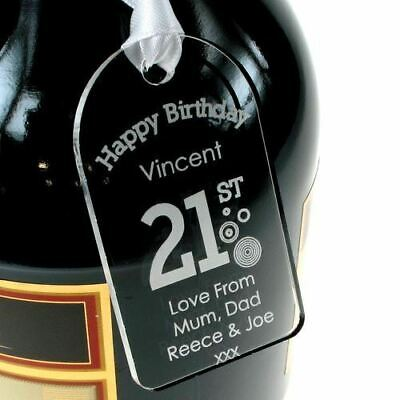 Personalised 21st Birthday Bottle Tag Clear Acrylic Boy Gift Idea For Him New