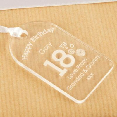 Personalised 18th Birthday Bottle Tag Clear Acrylic Boy Gift Idea For Him New