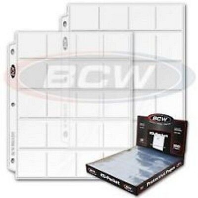 """15 Bcw Pro 20-Pocket Pages For 2"""" By 2"""" Cardboard Flips Slides Pogs Coins Coupon"""