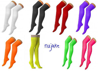 Over The Knee Thigh High Ladies Plain Cotton Lycra Socks Sox Fancy Party Sock
