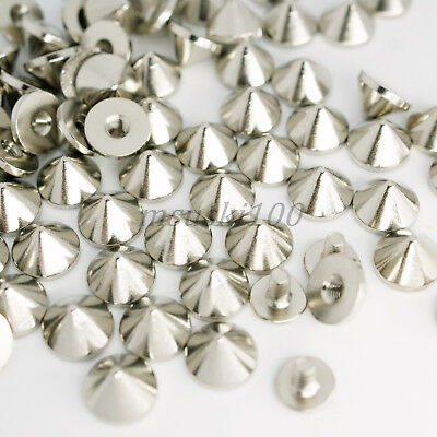 Screw Back Spikes Silver 6mm Polished Metal Stainless Steel Cone Studs Rivet