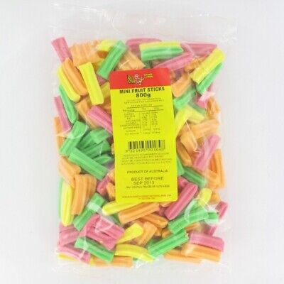 Mini Fruit Sticks Neon Multi Colour 800g Pk1