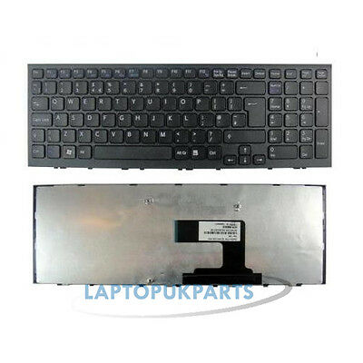 New For Sony Vaio Pcg-71C11M Notebook Laptop Uk Keyboard With Frame Black