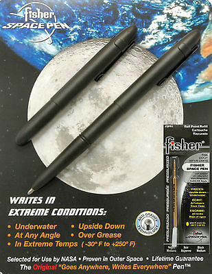 Fisher Space Pens Black Bullet Pen #400BCL with Clip Plus An Extra Black Refill