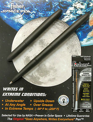 Fisher Space Pens Matte Black Bullet Pen #400B Plus An Extra Black Refill