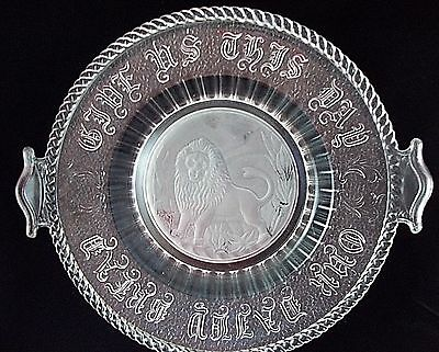 Frosted Lion Plate EAPG Antique Pattern Glass  ST432