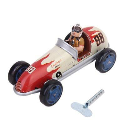 Vintage Wind up tin toy Retro Racing race Car racer driver clockwork mechanical