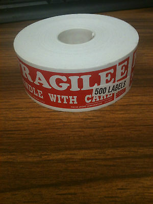 500 1.5x4 Fragile Handle With Care Label Stickers