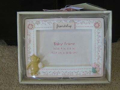 CLASSIC POOH PIGLET 4x6 BABY GIRL FRAME FRIENDSHIP PINK by DISNEY Nursery NEW