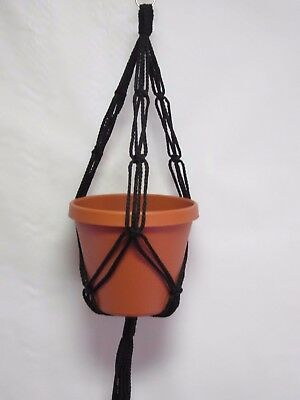 Macrame Plant Hanger 20in FRIENDSHIP - Black - Other colors available