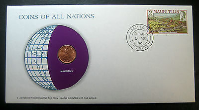 "1975 Mauritius One Cent coin in a Postmarked Cover! ""Coins of All Nations""!"
