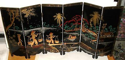 Rare Oil Hand Painted Asian Landscape And Koi Fish Screen Minh Chanh Vietnam