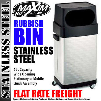 MAXIM Stainless Steel Bin Trash Can Rubbish Garbage Furniture Office Waste