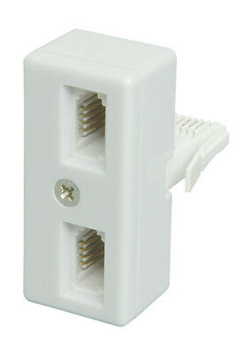 Double / 2 Way / Output Telephone / Phone Splitter  Connect 2 Phones to 1 Socket