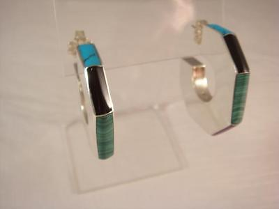 """Retro Sterling Silver Inlaid Earrings Turquoise Onyx + 3 Other CII 22g. """"WOW"""""""