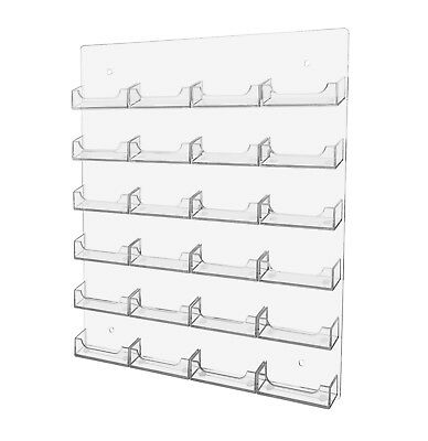 24 Pocket Business Card Holder Clear Acrilyc Horizontal Wall Mount Hanging Rack
