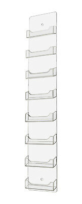 NEW 8 Pocket Business Card Holder Acrilyc Horizontal Wall Mount Clear