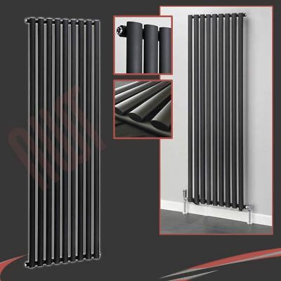 "630mm(w) x 1800mm(h) ""Brecon"" Vertical Black Radiator 5008 BTUs Oval Tubes"