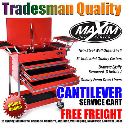 MAXIM Red Cantilever Service Cart Tool Chest Cabinet Box Toolbox Trolley Drawers