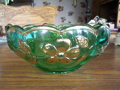 Beautiful Green Antique EAPG Pressed Glass Bowl with Gold Rim & Flowers