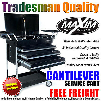 MAXIM Black Cantilever Service Cart Tool Chest Cabinet Box Toolbox Trolley