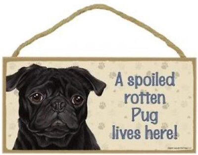 "Spoiled Rotten Pug Lives Here Sign Plaque Dog Black Pug 10"" x 5"" sign gifts pet"