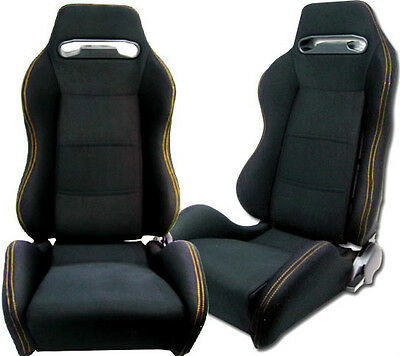 New 2 Black Pvc Leather + Yellow Stitching Racing Seats Reclinable Toyota *