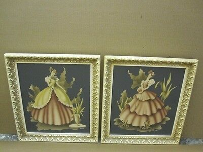 Pair of Antique 1940s Turner Victorian Ladies Prints w Ornate Resin Frames NICE
