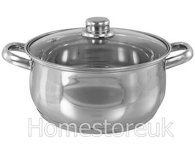 24Cm 6L Induction Casserole Dish Pan Steel Stock Pot Stew Vented Glass Lid 15148