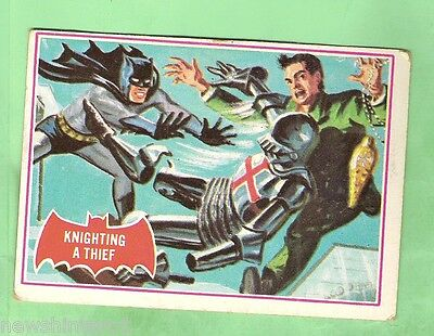 Scanlens 1966 Batman Red Bat Card #9A  Knighting A Thief