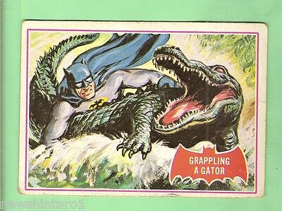 Scanlens 1966 Batman Red Bat Card #2A  Grappling A Gator