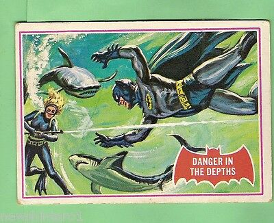Scanlens 1966 Batman Red Bat Card #14A  Danger In The Depths