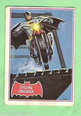 Scanlens 1966 Batman Red Bat Card #10A  Cycling Crusader